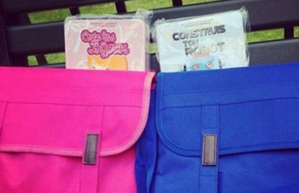 Prefeita francesa distribui mochilas rosas para meninas e azuis para meninos e gera polêmica (Foto: Instagram/BBC)