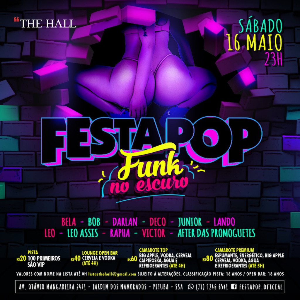Flyer Festa POP Funk no escuro
