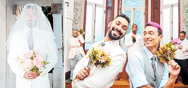 Ricardo Albuquerque, em dois momentos da peça: com véu e grinalda e ao lado do noivo (Fernando Ishiruji) (Andrea Magnoni/Divulgação)