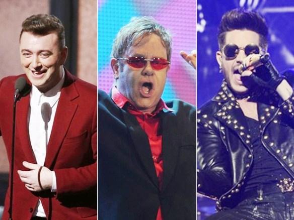 Sam Smith, Elton John e Adam Lambert, atrações do Rock in Rio 2015, em setembro  (Foto: Reuters, AP e G1)