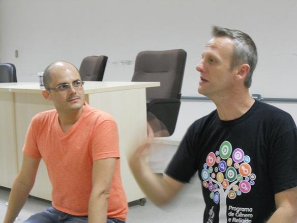 Pesquisadores Murilo Arruda e André Musskopf mediaram o evento