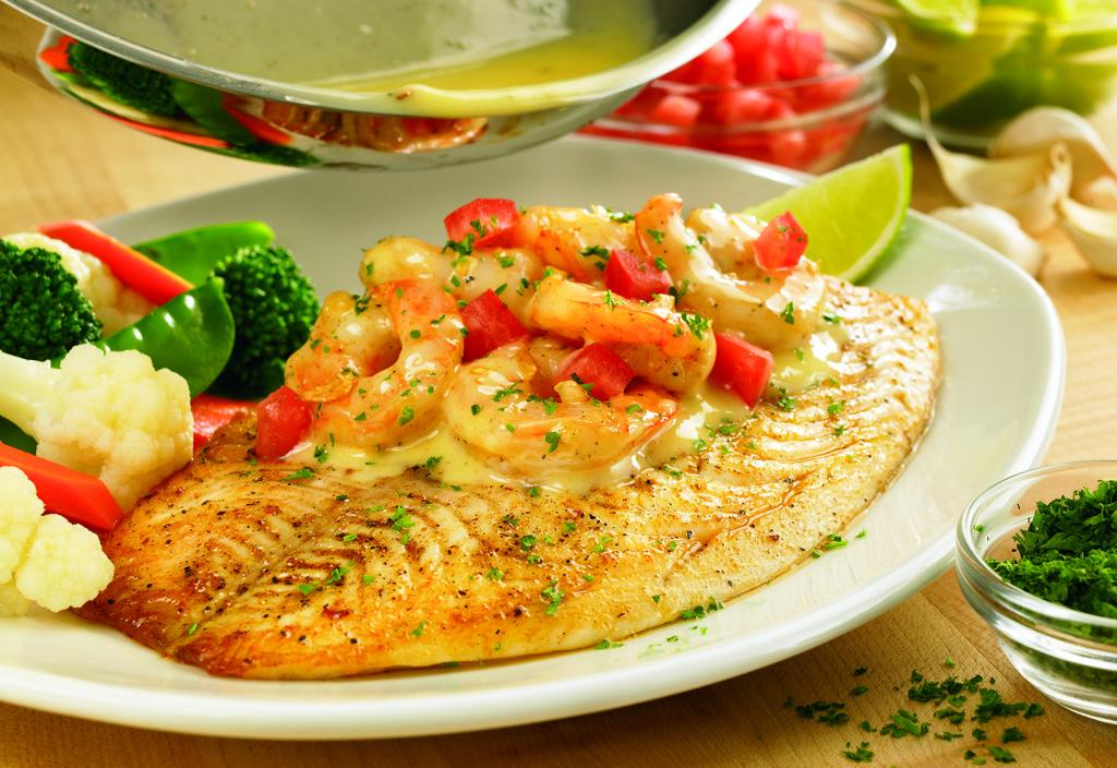 Grilled Fish Shrimp Scampi